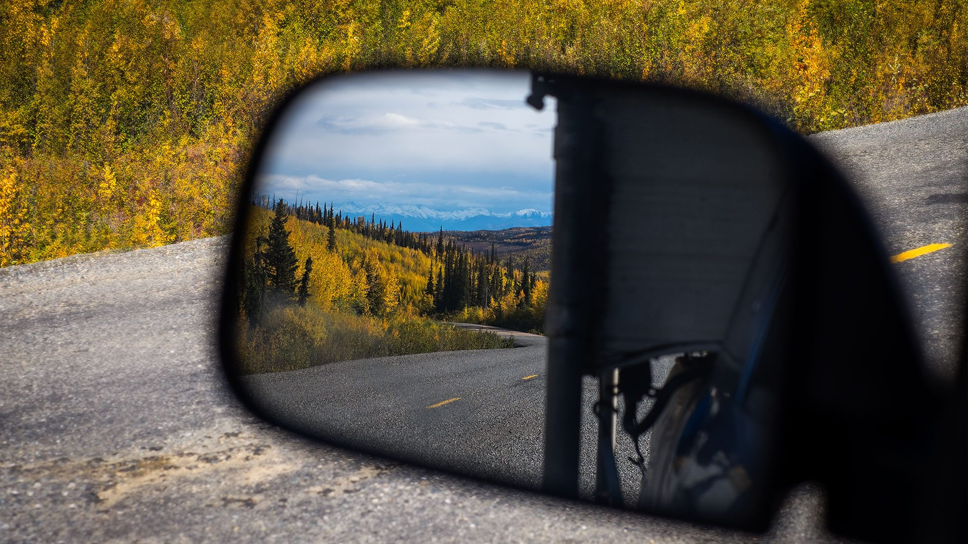 Landscape in the side-view mirror, Alaska, USA