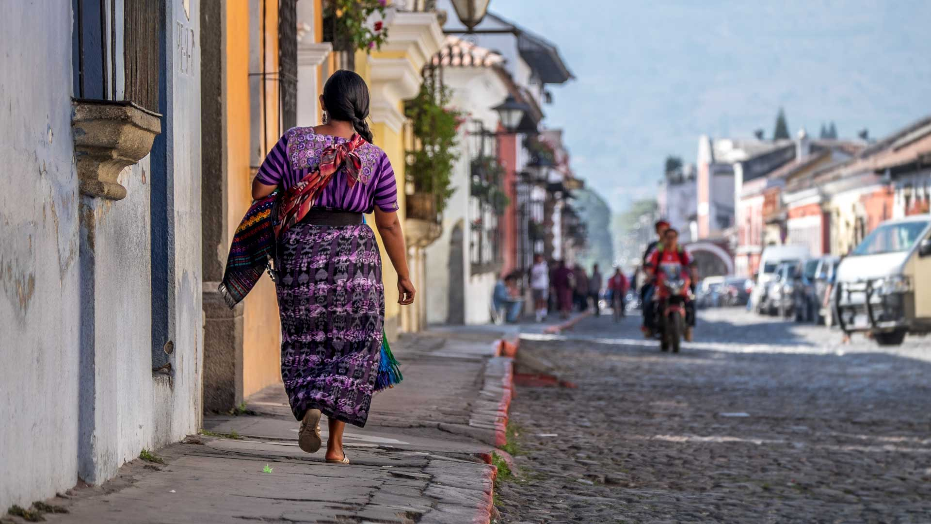 Guatemalan Woman in traditional dress, Antigua, Guatemala