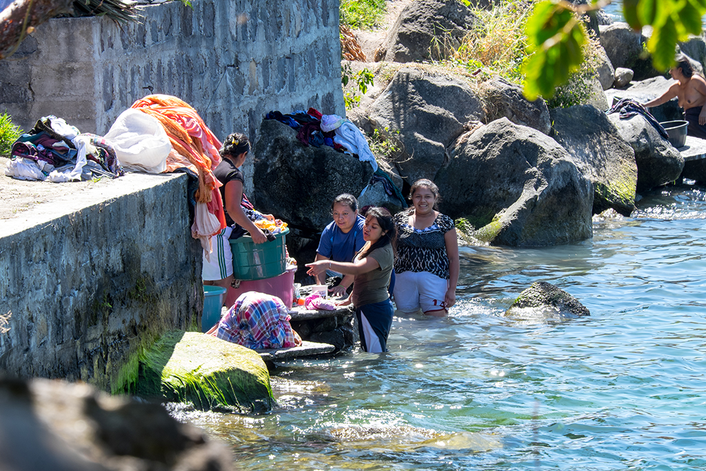 Local women washing cloth in the lake