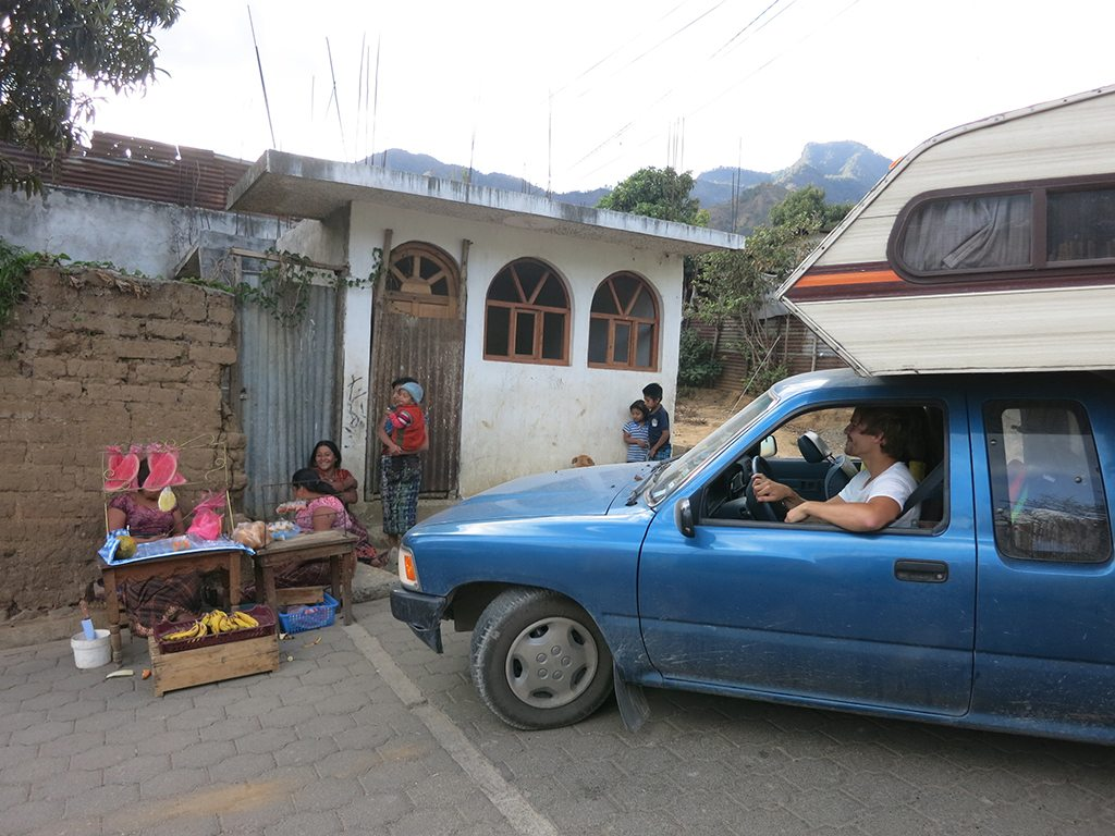 Driving through the narrow streets near Lake Atitlan