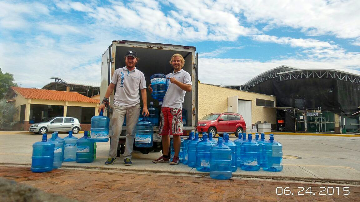 Delivering water with Santiago