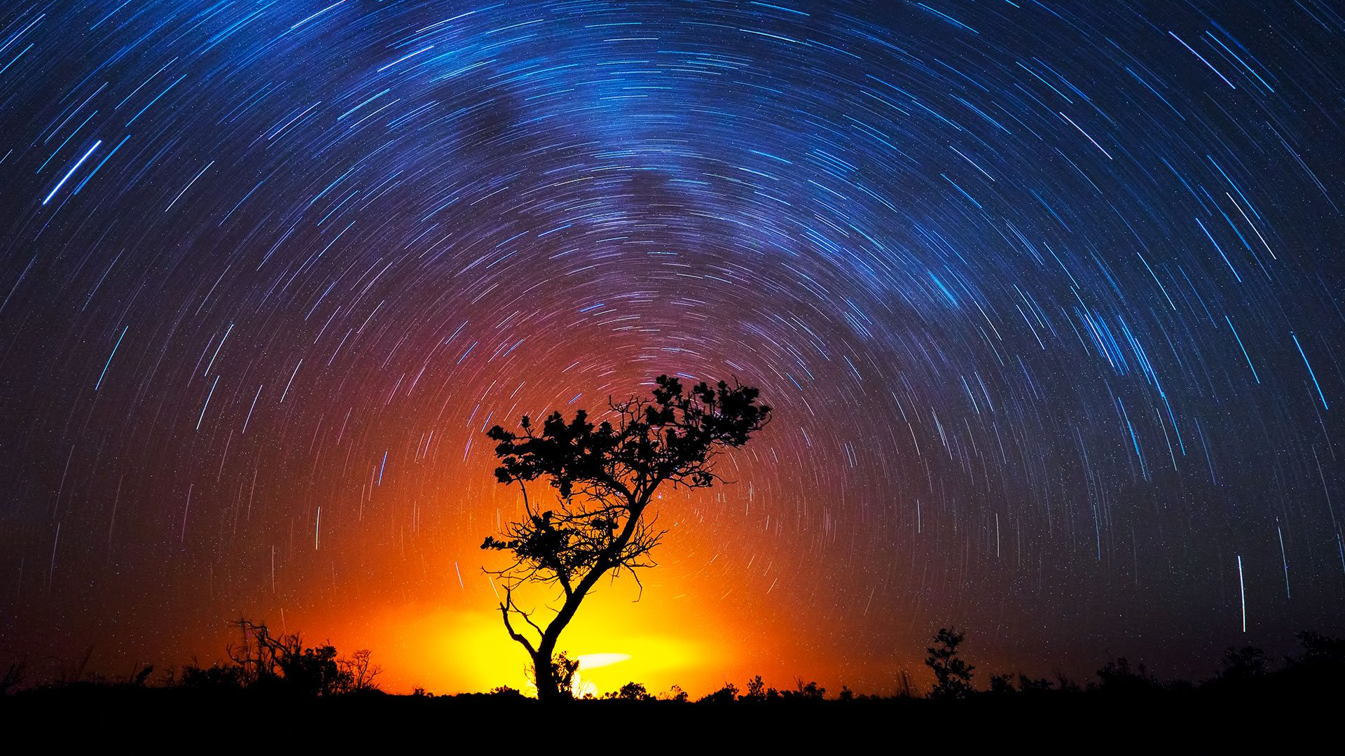 Volcano Star Trails, Volcanoes National Park, Hawaii, USA