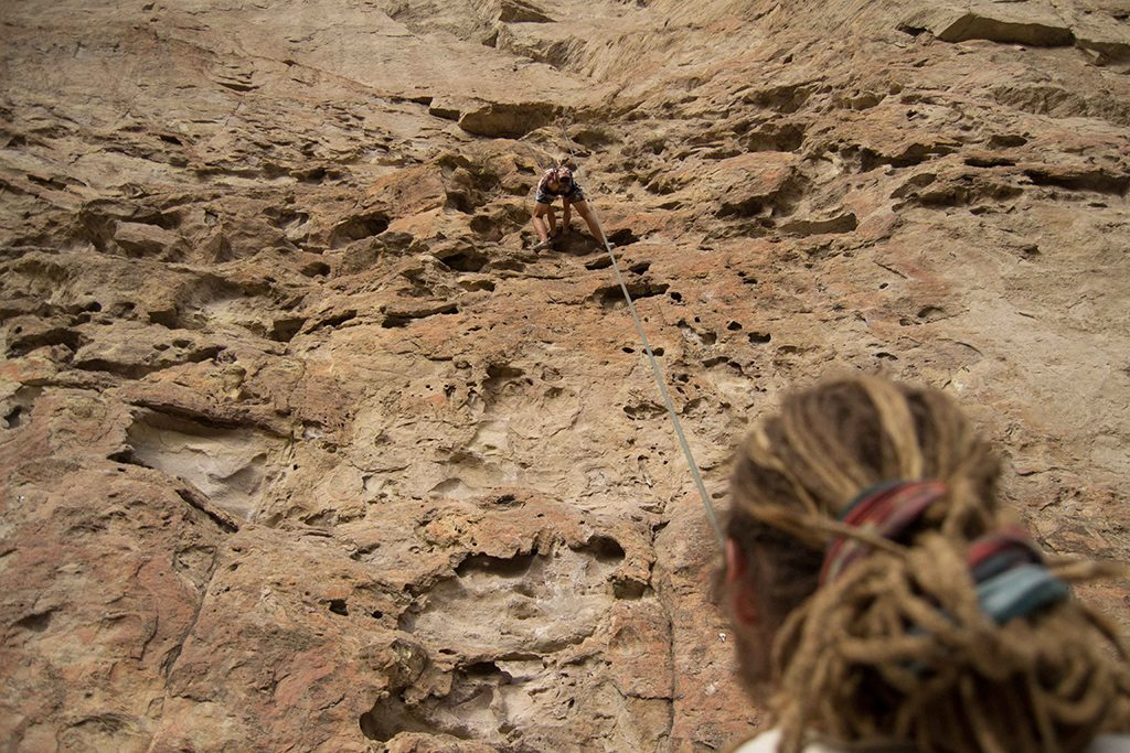 "Basti giving me belay on ""The Monument"""