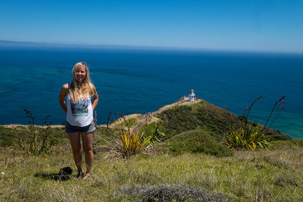 Sarah at Cape Reinga, the northernmost point of New Zealand