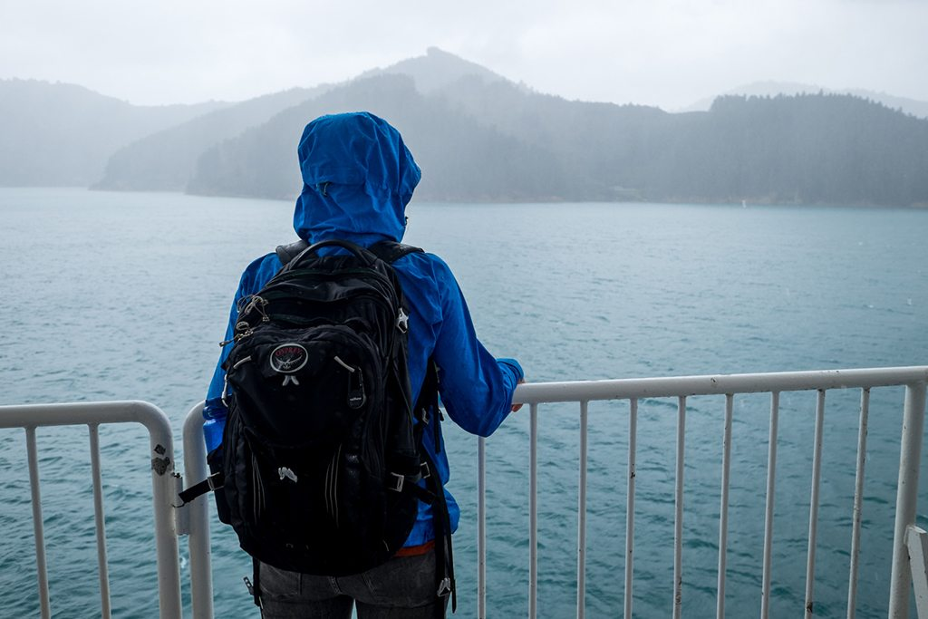 Sarah on the ferry, crossing the Cook Strait