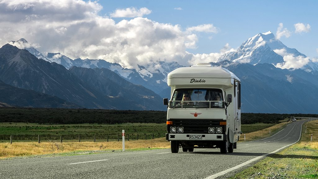 """Dinkie"" cruising along the Mt. Cook Road"